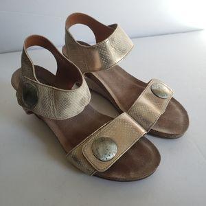 Taos Carousel 2 Metallic Snakeskin Wedge Sandals
